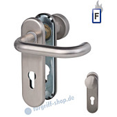 Paula-KS Feuerschutzgarnitur Knopf/Drücker, PZ 9 mm Edelstahl matt Südmetall