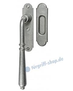 001 Hebeschiebetürgriff mit Griffmuschel, ovale Rosette, 180° Rastermechanik, antik grau thermopatiniert von Halcö