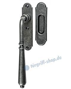001 Hebeschiebetürgriff mit Griffmuschel, ovale Rosette, 180° Rastermechanik, schwarz passiviert von Halcö