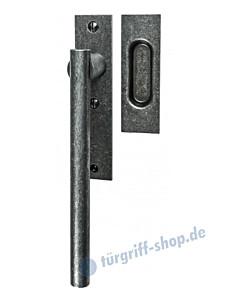 002 Hebeschiebetürgriff mit Griffmuschel, eckige Rosette, 180° Rastermechanik, schwarz passiviert von Halcö