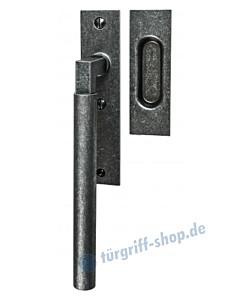 004 Hebeschiebetürgriff mit Griffmuschel, eckige Rosette, 180° Rastermechanik, schwarz passiviert von Halcö