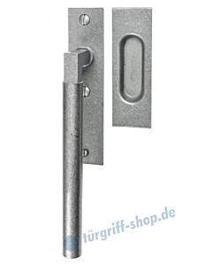 004 Hebeschiebetürgriff mit Griffmuschel, eckige Rosette, 180° Rastermechanik, antik grau thermopatiniert von Halcö