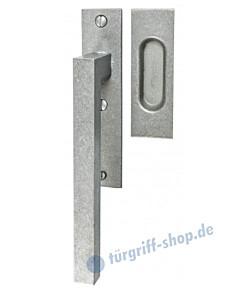 006 Hebeschiebetürgriff mit Griffmuschel, eckige Rosette, 180° Rastermechanik, antik grau thermopatiniert von Halcö
