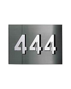 Hausnummer Edelstahl mit Spiegelblech 3stellig  v. Albert