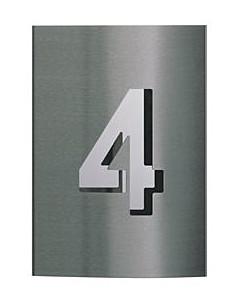 Hausnummer Edelstahl mit Spiegelblech 1stellig  v. Albert
