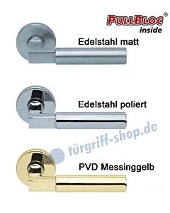 1016 (Bauhaus) Rosettengarnitur Pullbloc Edelstahl o. Messing Scoop