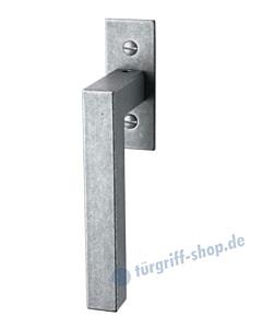 104 Fenstergriff mit eckiger Rosette, mit Rasterung Multitac®, Stift 7 x 35 mm, Antik-Grau thermopatiniert von Halcö