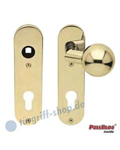 WE Knopf gekröpft auf KS-Paar PZ Messing PVD 8 mm Vierkant Scoop
