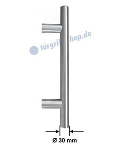 Stossgriff 1089ES mit Bohrabstand nach Kundenwunsch, Griff-Ø 30 mm, gerade oder gekröpft, Länge bis 1500 mm, Edelstahl matt Spitzer