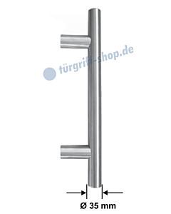 Stossgriff 1089ES mit Bohrabstand nach Kundenwunsch, Griff-Ø 35 mm, gerade oder gekröpft, Länge bis 1500 mm, Edelstahl matt Spitzer