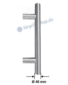 Stossgriff 1089ES mit Bohrabstand nach Kundenwunsch, Griff-Ø 40 mm, gerade oder gekröpft, Länge bis 1500 mm, Edelstahl matt Spitzer