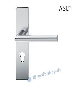 12-1410 Halbgarnitur, eckiges Langschild ASL® mit Drücker 1076 in Edelstahl feinmatt von FSB