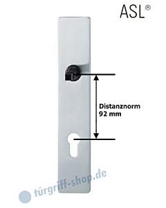 12-1410 eckiges Langschild ASL® mit PZ-Lochung, 92mm, Vierkantaufnahme 8 mm, Edelstahl feinmatt FSB