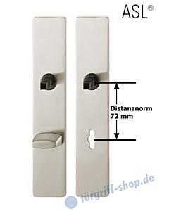 12-1410 eckiges Langschildpaar ASL® mit WC-Verriegelung, 78 mm, Vierkantaufnahme 8 mm, Aluminium F1 natureolxiert FSB