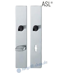 12-1410 eckiges Langschildpaar ASL® mit WC-Verriegelung, 78 mm, Vierkantaufnahme 8 mm, Edelstahl feinmatt FSB