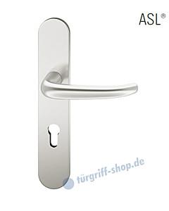 12-1418 Halbgarnitur, ovales Langschild ASL® mit Drücker 1023, Vierkantaufnahme 8 mm, Alu naturfarbig eloxiert FSB