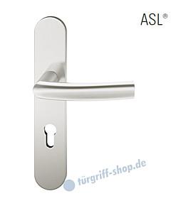 12-1418 Halbgarnitur, ovales Langschild ASL® mit Drücker 1107, Vierkantaufnahme 8 mm, Alu naturfarbig eloxiert FSB