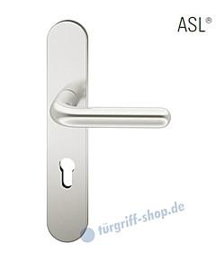 12-1418 Halbgarnitur, ovales Langschild ASL® mit Drücker 1147, Vierkantaufnahme 8 mm, Alu naturfarbig eloxiert FSB