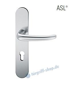 12-1418 Halbgarnitur, ovales Langschild ASL® mit Drücker 1023, Vierkantaufnahme 8 mm, Edelstahl feinmatt FSB