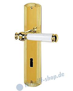Sanssouci S959 Langschildgarnitur Messing-poliert/weiss