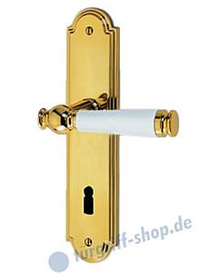 Sanssouci S990 Langschildgarnitur Messing-poliert/ Weiss Jatec