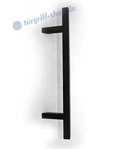 Stossgriff 1489A Griff 30x30 mm, schräge Stützen, diverse Längen, Edelstahl schwarz RAL 9005 Spitzer