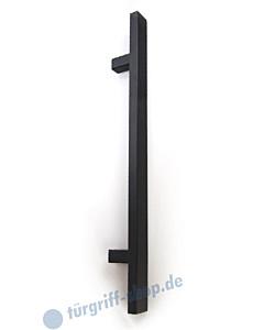 Stossgriff 1889A mit Bohrabstand nach Kundenwunsch, Griff 40 x 20 mm, gerade Stützen, Länge bis 2000 mm Schwarz RAL 9005 matt Spitzer