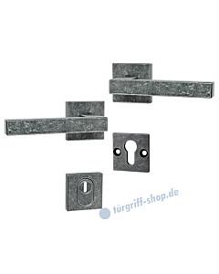 194 quadratische Rosetten-Schutzgarnitur Drücker/Drücker mit KZS schwarz passiviert von Halcö