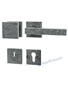 194 quadratische Rosetten-Schutzgarnitur Knopf/Drücker mit KZS schwarz passiviert von Halcö