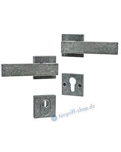195 quadratische Rosetten-Schutzgarnitur Drücker/Drücker mit KZS schwarz passiviert von Halcö