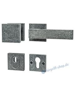 195 quadratische Rosetten-Schutzgarnitur Knopf/Drücker mit KZS schwarz passiviert von Halcö
