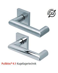 2009 quadratische Rosettengarnitur Pullbloc® 4.1 Kugellagertechnik in Edelstahl matt oder poliert von Scoop