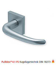 2103 quadratische Feuerschutzgarnitur Pullbloc® 4.1 FS Kugellager Edelstahl matt von Scoop