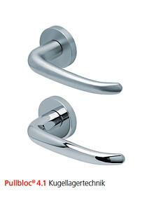 2103 Rosettengarnitur Pullbloc® 4.1 Kugellagertechnik in Edelstahl matt oder poliert von Scoop