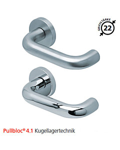 2104 Rosettengarnitur Pullbloc® 4.1 Kugellagertechnik in Edelstahl matt oder poliert von Scoop