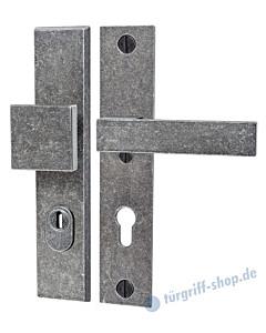 220 Langschild-Schutzgarnitur modern Knopf/Drücker mit KZS schwarz passiviert von Halcö