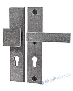 219 Langschild-Schutzgarnitur modern Knopf/Drücker schwarz passiviert von Halcö