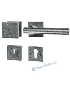 232 quadratische Rosetten-Schutzgarnitur Knopf/Drücker mit KZS schwarz passiviert von Halcö