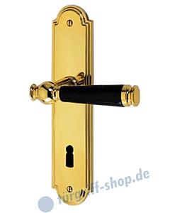 Sanssouci S990 Langschildgarnitur Messing-poliert/Schwarz Jatec