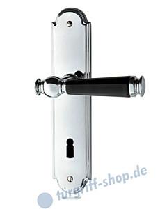 Sanssouci S990 Langschildgarnitur Chrom/Porzellan schwarz von Jatec