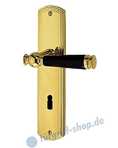 Sanssouci S959 Langschildgarnitur Messing-poliert/Schwarz Jatec