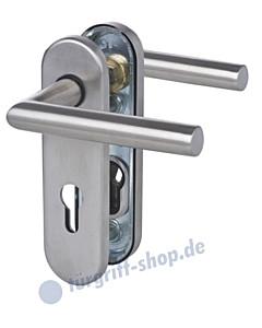 Sicura Kurzschild Ronny Schutzgarnitur PZ 8/72mm  Drücker / Drücker Edelstahl matt Südmetall