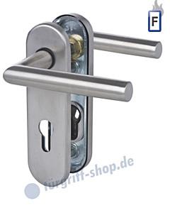 Sicura Kurzschild Ronny Feuer-Schutzgarnitur Drücker/Drücker Stift 9 mm Edelstahl matt Südmetall