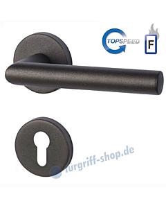 Ronny II-R Feuerschutz-Rosettengarnitur Top Speed GK4 Schwarzstahl-Optik von Südmetall