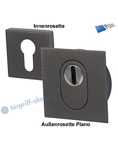 Schutzrosettenpaar Square Plano mit Kernziehschutz Schwarzstahl-Optik Südmetall