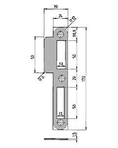 Schließblech für stumpfe Türen Edelstahl matt