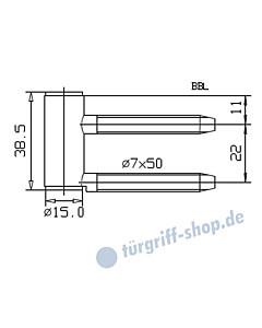 Rahmenteil 400/004/100/999 für Holzzarge für 3-teiliges Glastürband, vernickelt von JTC