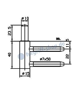 Rahmenteil 400/006/100/999 für Holzzarge für 2-teiliges Glastürband von JTC
