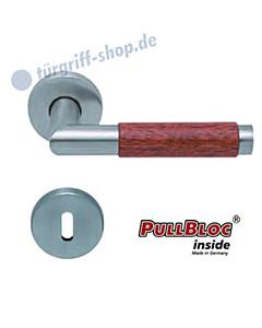 1X74 (Chiara) Merbau Rosettengarnitur PullBloc Edelstahl matt Scoop