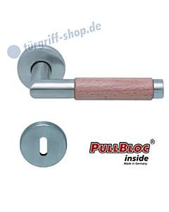 1X74 (Chiara) Buche Rosettengarnitur PullBloc Edelstahl matt Scoop